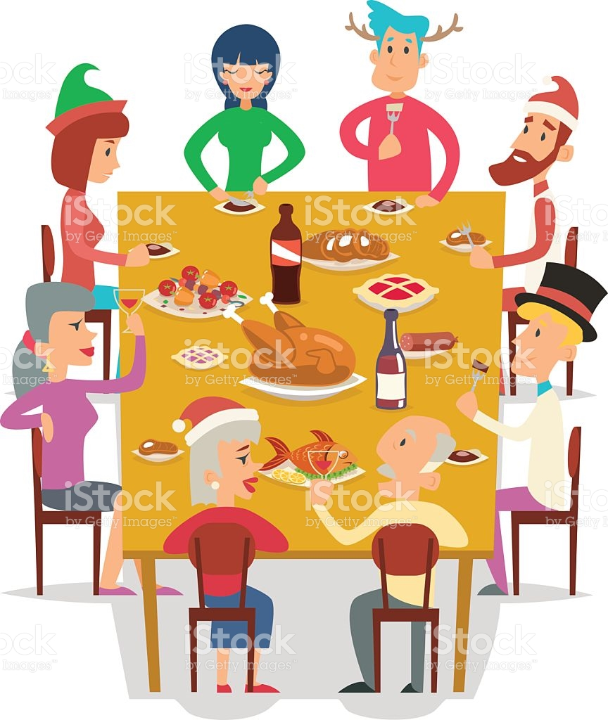 Celebration clipart group. Eating lunch with family