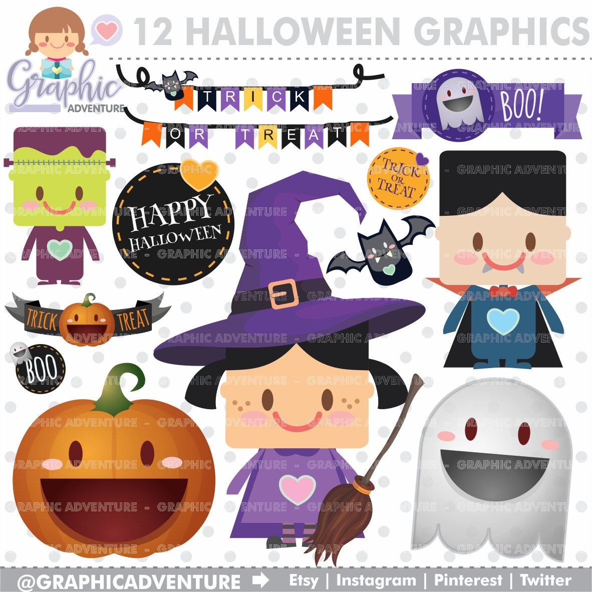 Clipart halloween celebration. Graphics commercial use kawaii