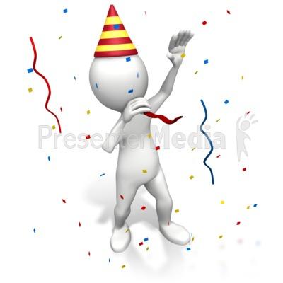 Celebration clipart powerpoint presentation. Stick figure blowing party