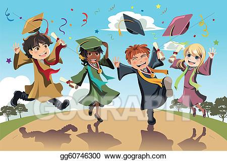 Vector graduation illustration a. Celebration clipart student