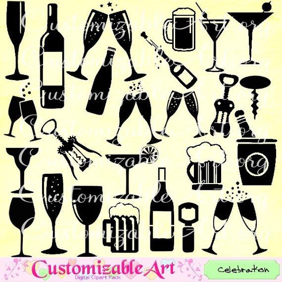 Glass champagne bottle clip. Celebration clipart wine
