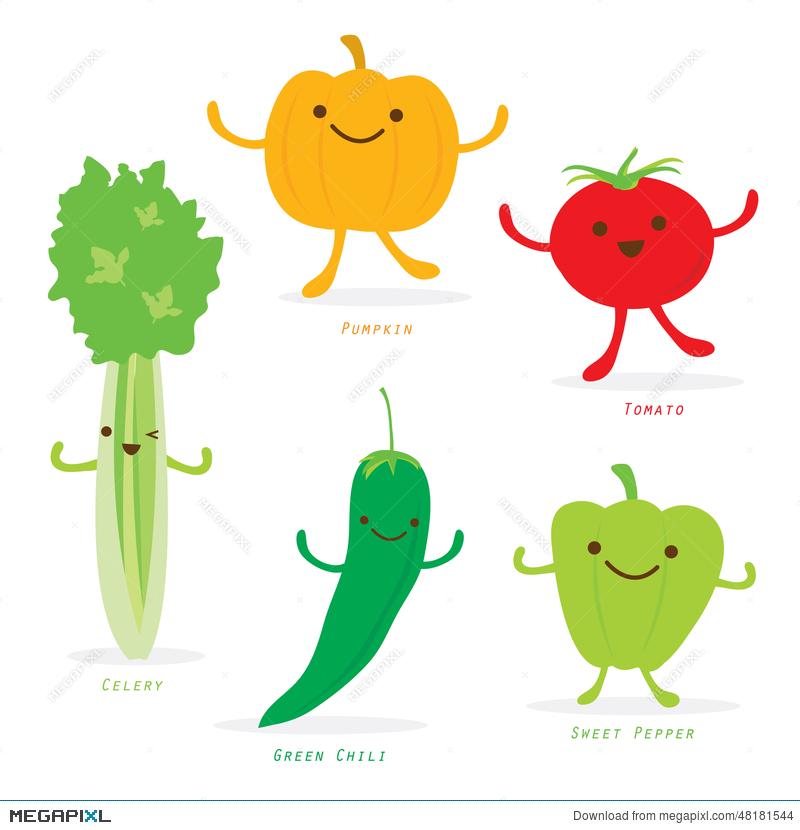 Vegetable cartoon cute set. Celery clipart animated