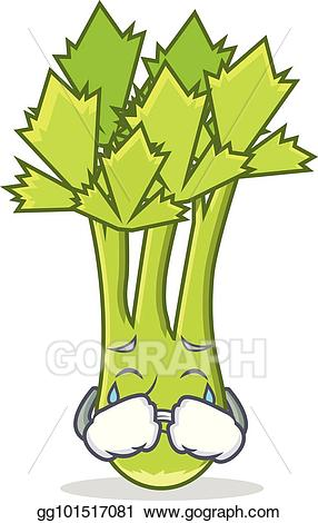 Vector illustration crying mascot. Celery clipart sad