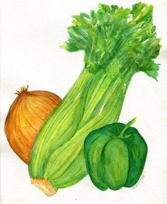 Celery clipart watercolor. Painting vegetable series x