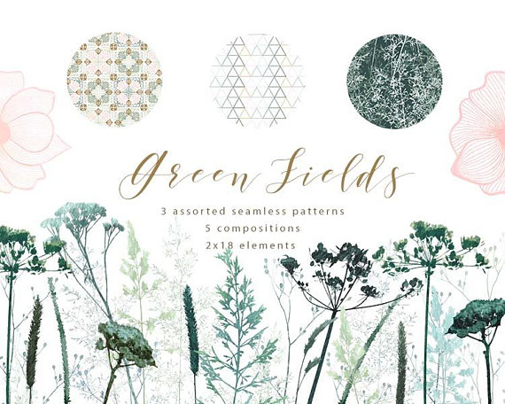 Green field flowers cliparts. Celery clipart watercolor
