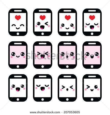 Japanese kawaii character mobile. Cell clipart cute
