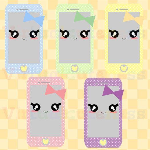 Pastel phone clip art. Cell clipart cute