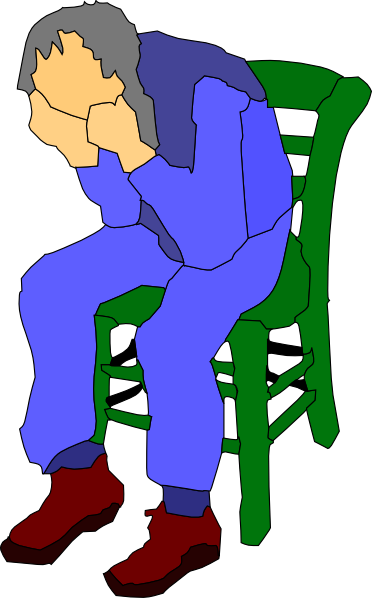 Man sitting on a. Cell clipart sad