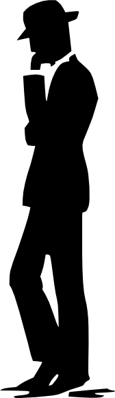 Man walking talking on. Cell clipart silhouette