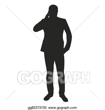 Cell clipart silhouette. Vector man thinking phone