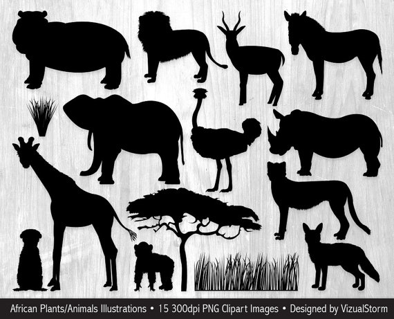 Cell clipart silhouette. African animal silhouettes safari