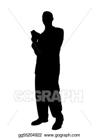 Cell clipart silhouette. Stock illustration man standing