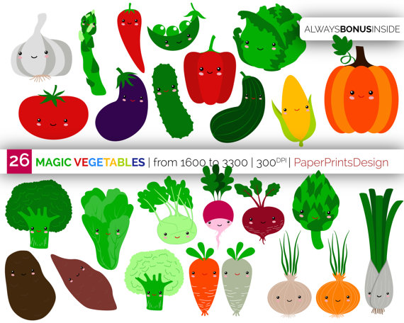 Cell clipart vegetable.  kawaii baby vegetables