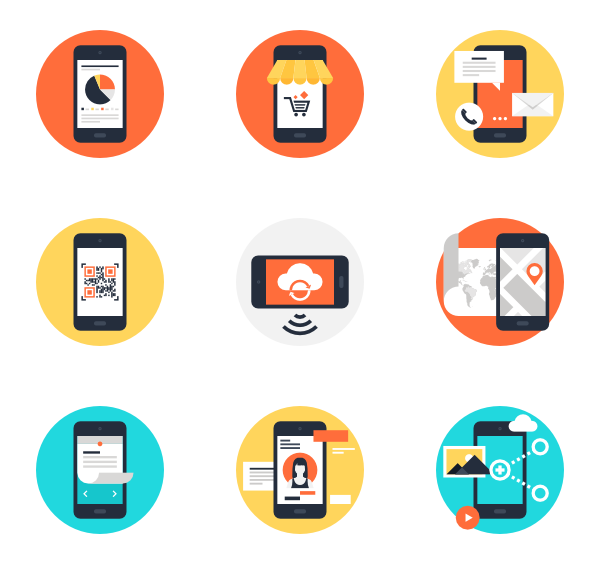 Mobile icons free apps. Cell phone vector png