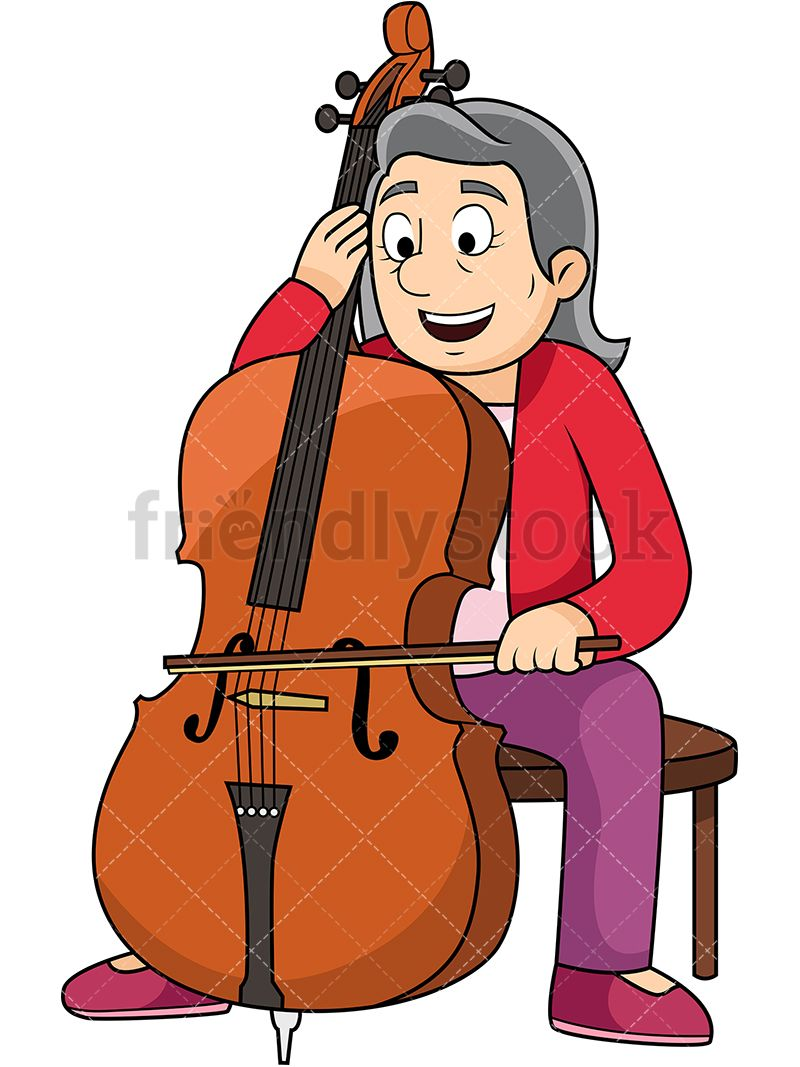 Cello clipart animated. Old woman playing the