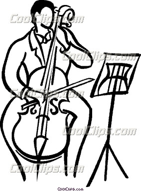 Cello clipart black and white. Person playing the panda