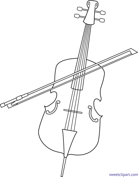 Sweet clip art page. Cello clipart black and white