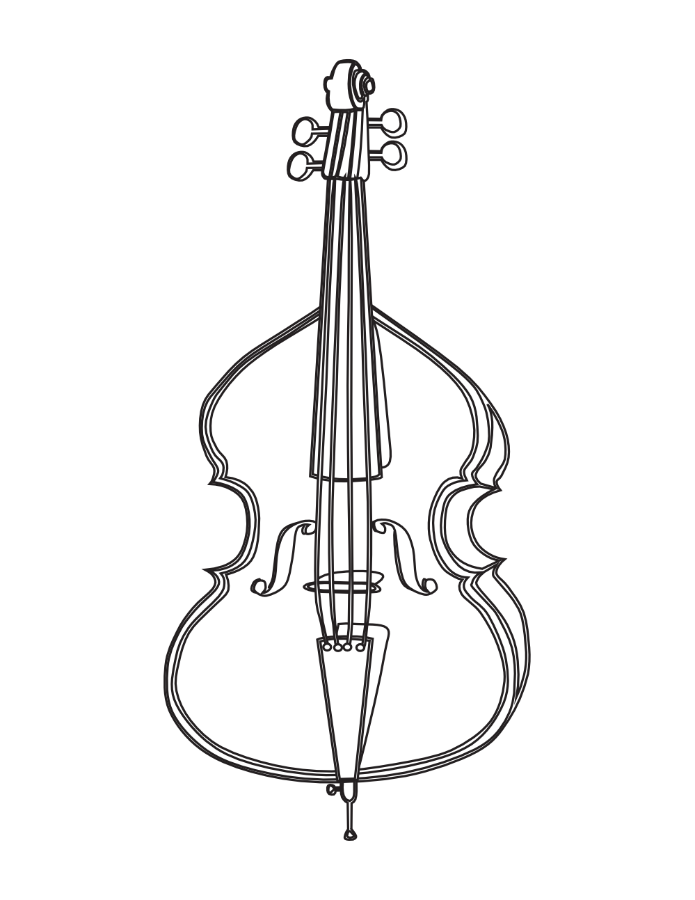 . Cello clipart black and white