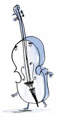 Clip art vector illustration. Cello clipart broken