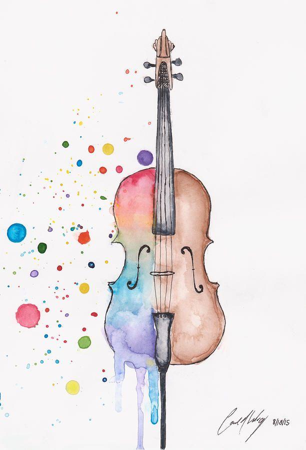 Image result for watercolor. Cello clipart broken
