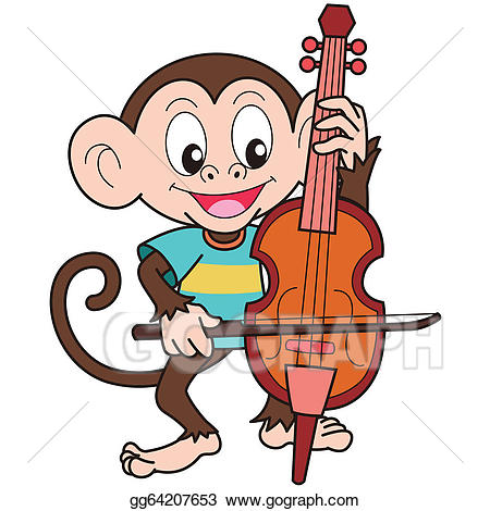 Cello clipart cartoon. Eps vector monkey playing