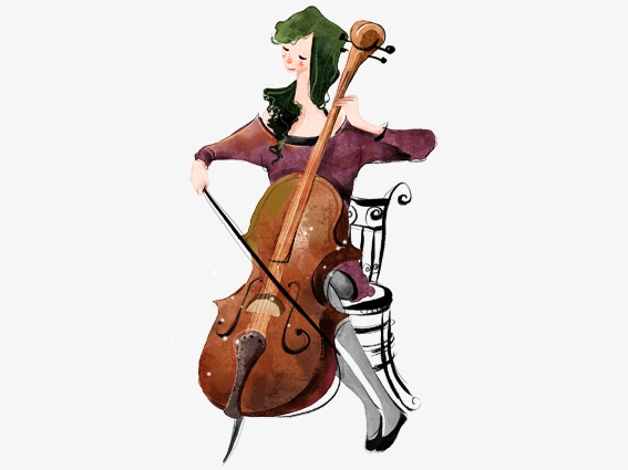 Woman playing the lyre. Cello clipart cartoon
