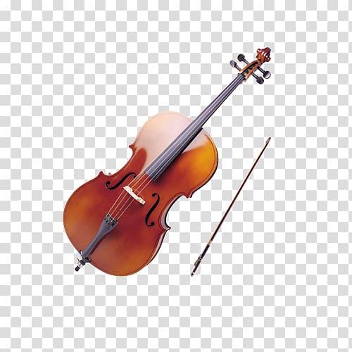 Brown violin with musical. Cello clipart cello bow