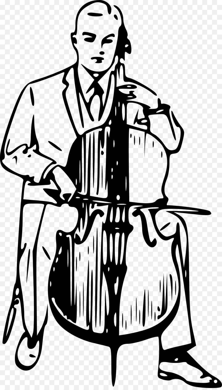Violin cartoon drawing illustration. Cello clipart cello player