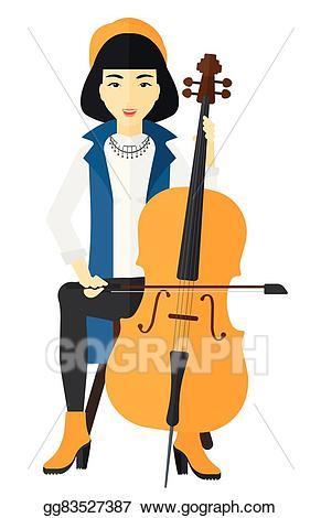 Cello clipart cello player. Vector art woman playing