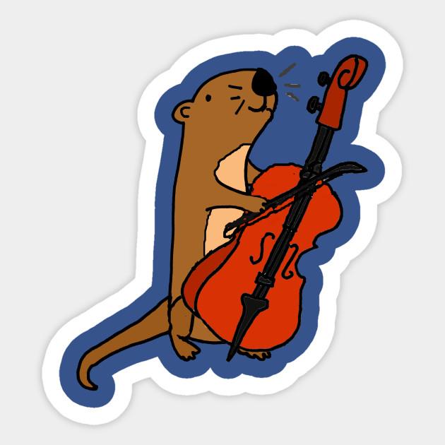 Cello clipart cello player. Cute sea otter playing