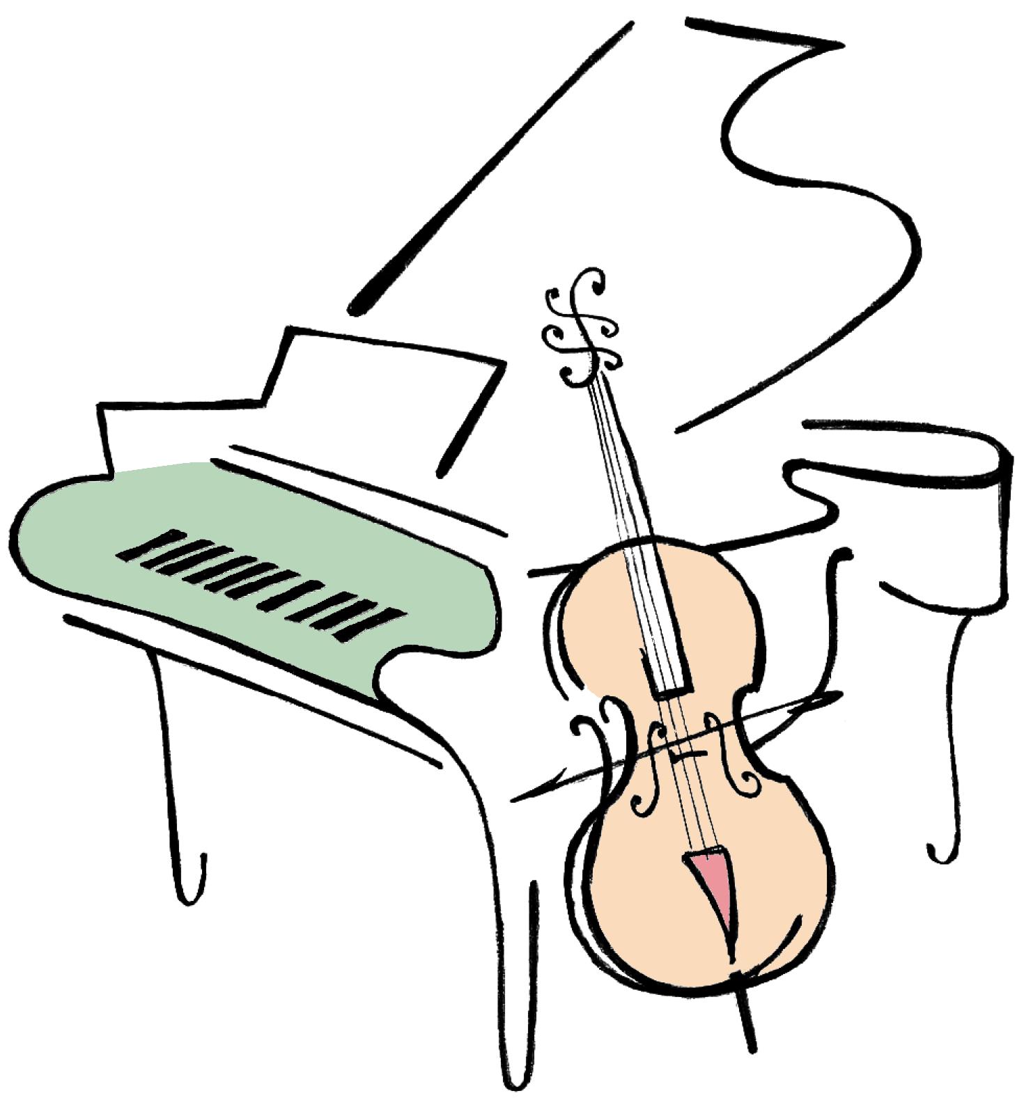 Piano pencil and in. Cello clipart cello player
