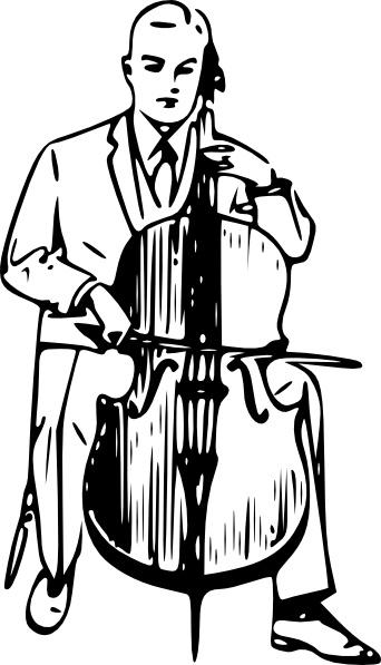 Man playing clip art. Cello clipart cello player