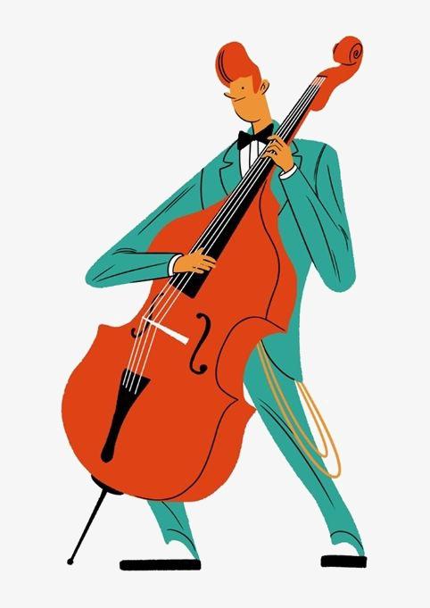 Man playing the cartoon. Cello clipart cello player