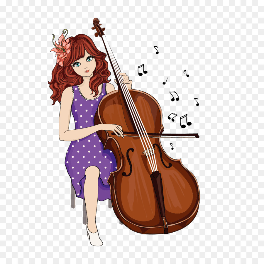 Cartoon girl illustration playing. Cello clipart chinese american