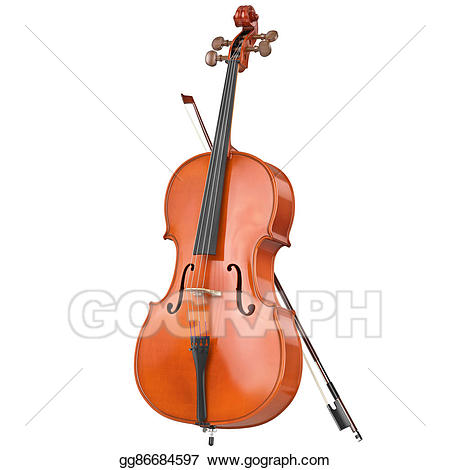 Wooden stock illustration . Cello clipart classical instrument