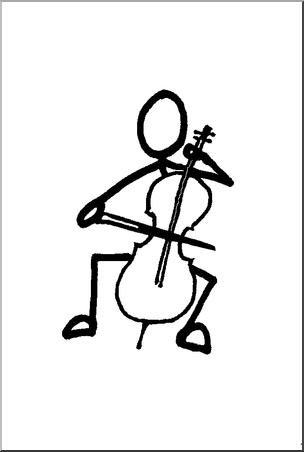 Stick guy player b. Cello clipart clip art