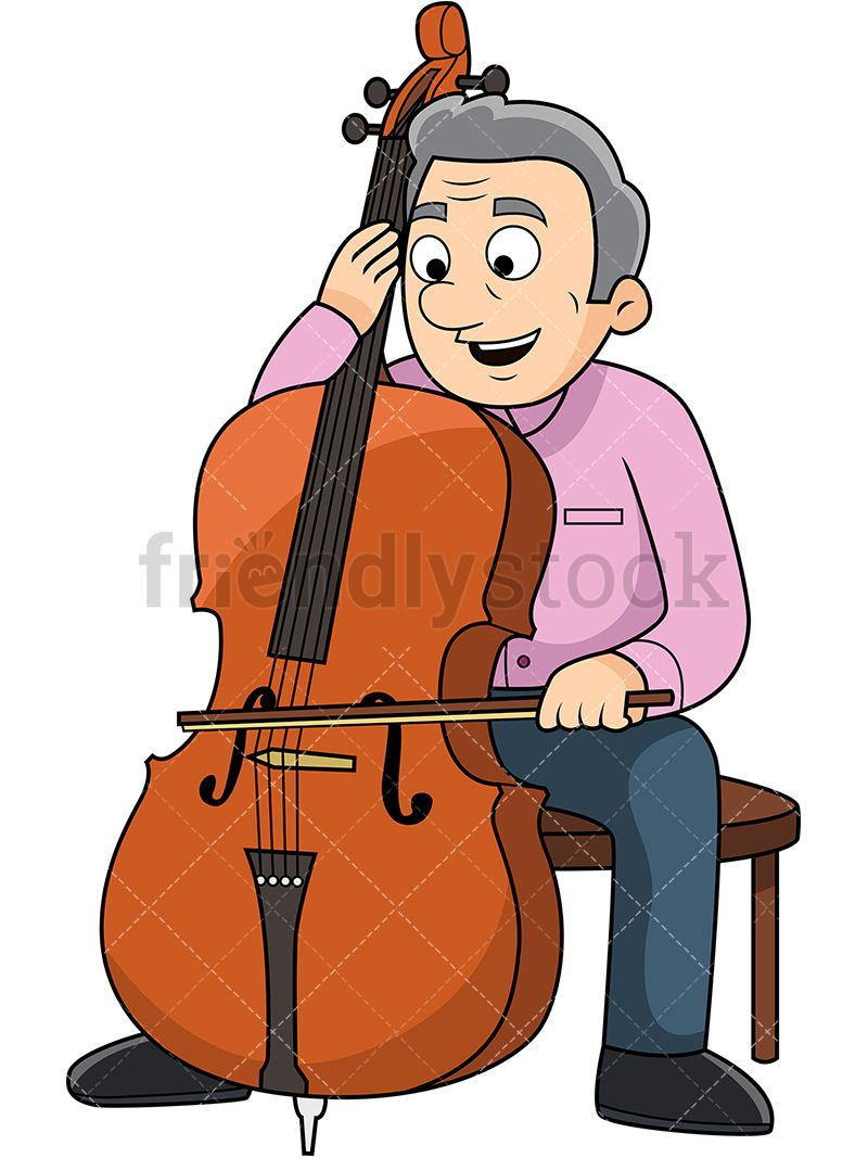 Cello clipart clip art. Old man playing the