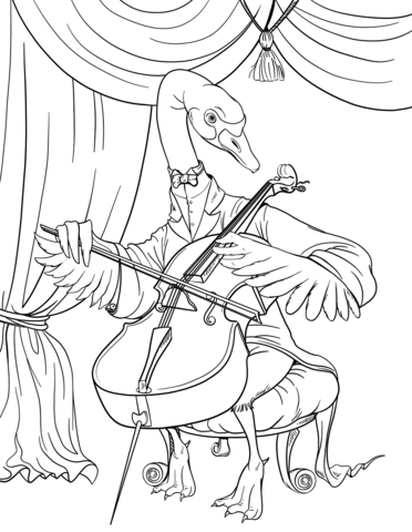 The swan playing free. Cello clipart coloring page