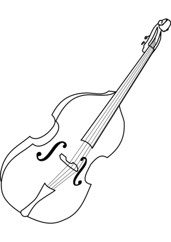 Cello clipart coloring page. Free printable pages