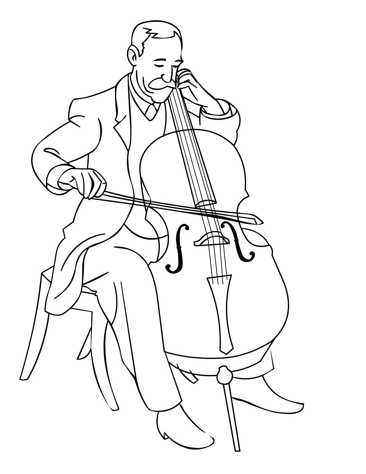 Music pages musical drums. Cello clipart coloring page