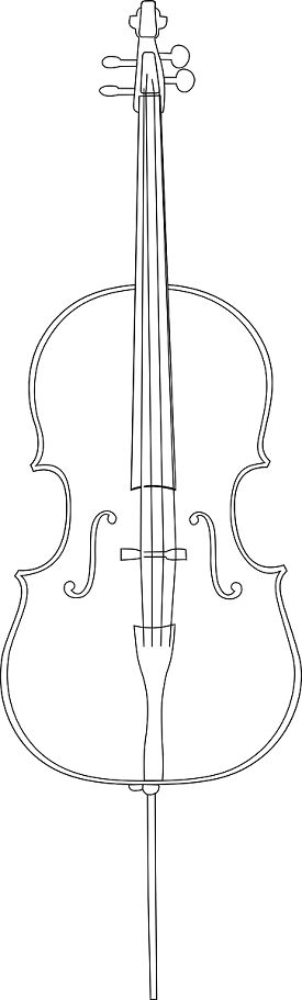 Cello clipart coloring page. Books and pages printable