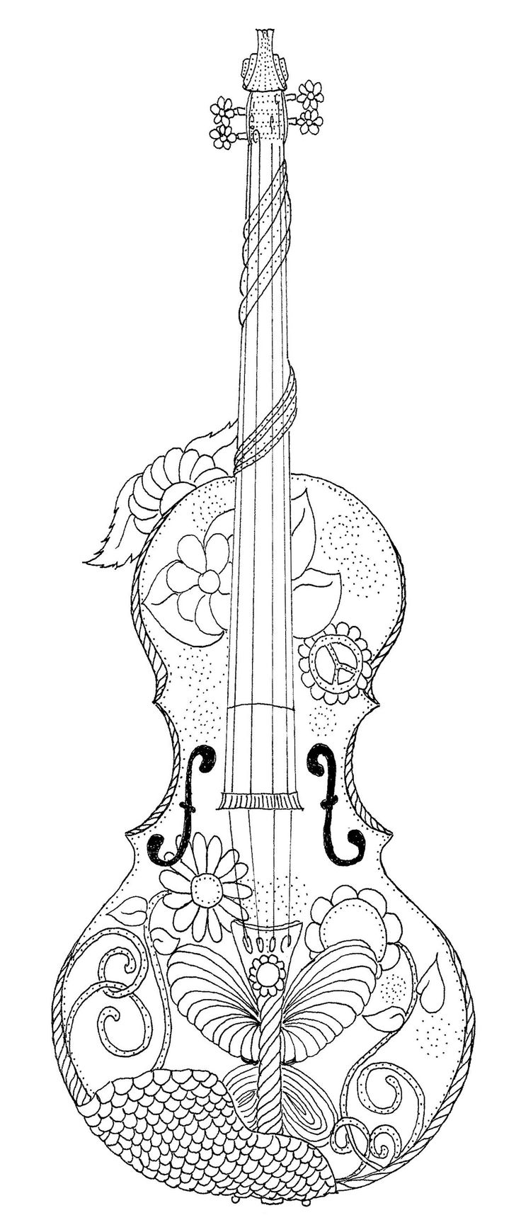 Crafty inspiration violin pages. Cello clipart coloring page
