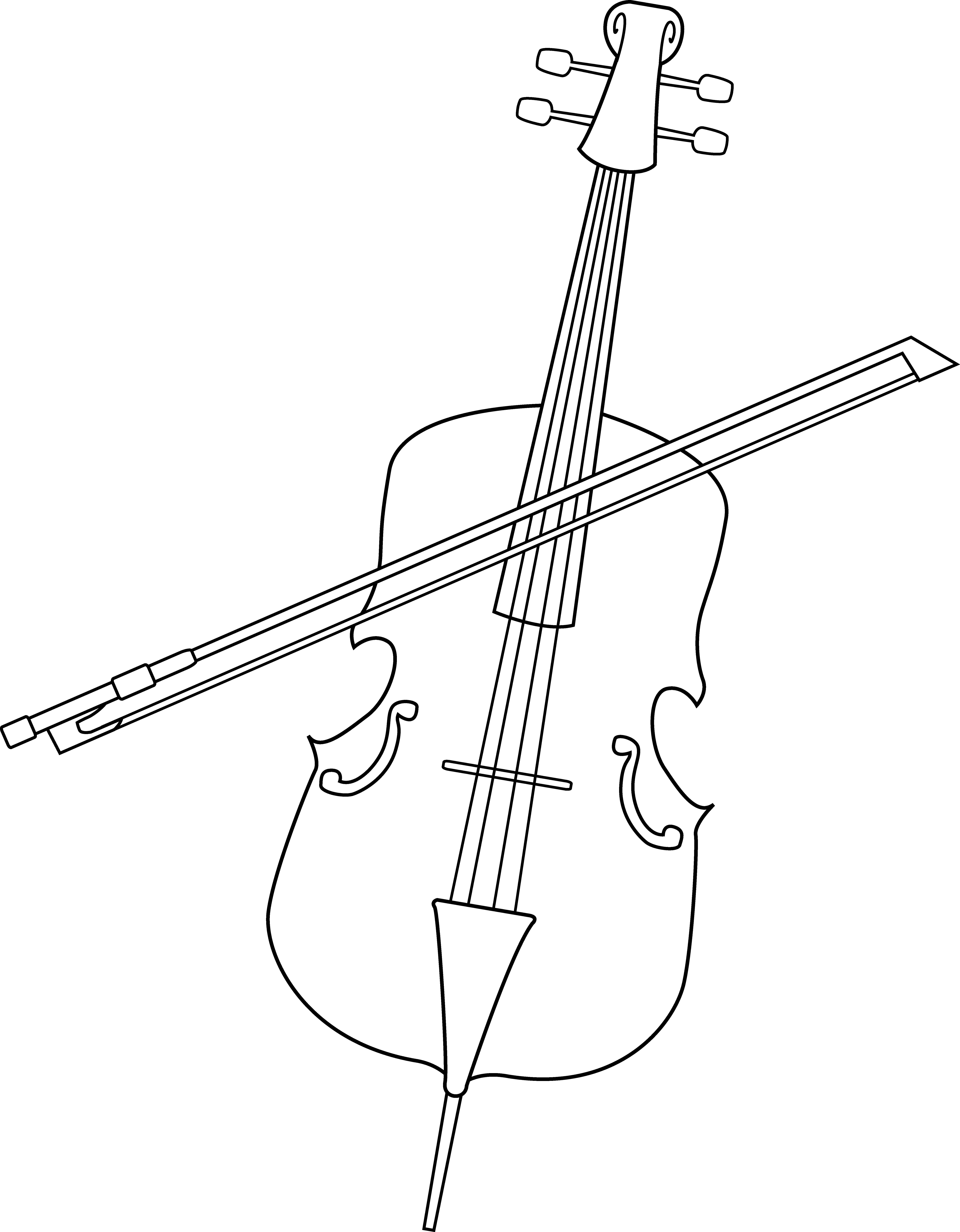 Cello clipart outline. Elegant line art free