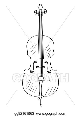 Vector art isolated drawing. Cello clipart outline