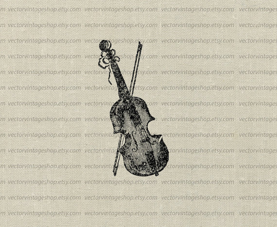 Violin and bow vector. Cello clipart string family