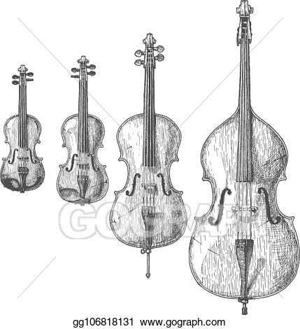 Vector stock bowed instruments. Cello clipart string family