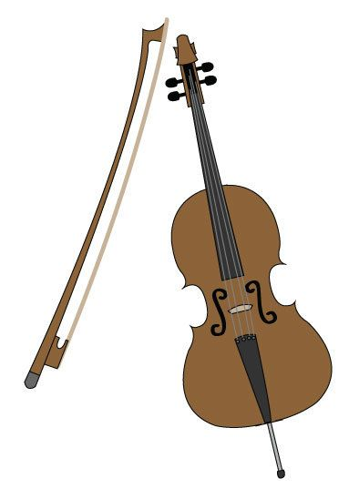 A happy woman playing. Cello clipart tool