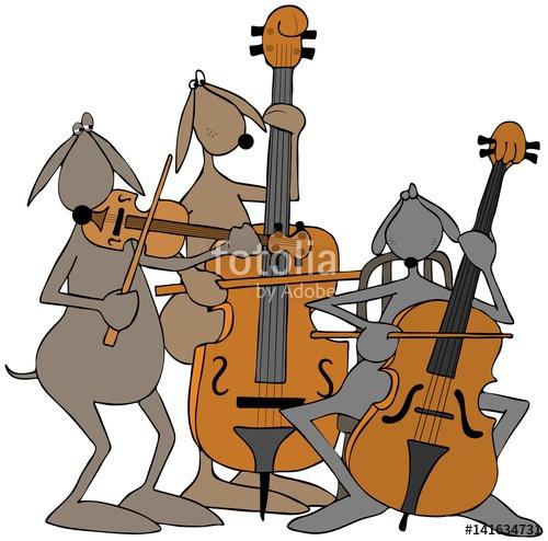 Cello clipart violin. Illustration of three dogs