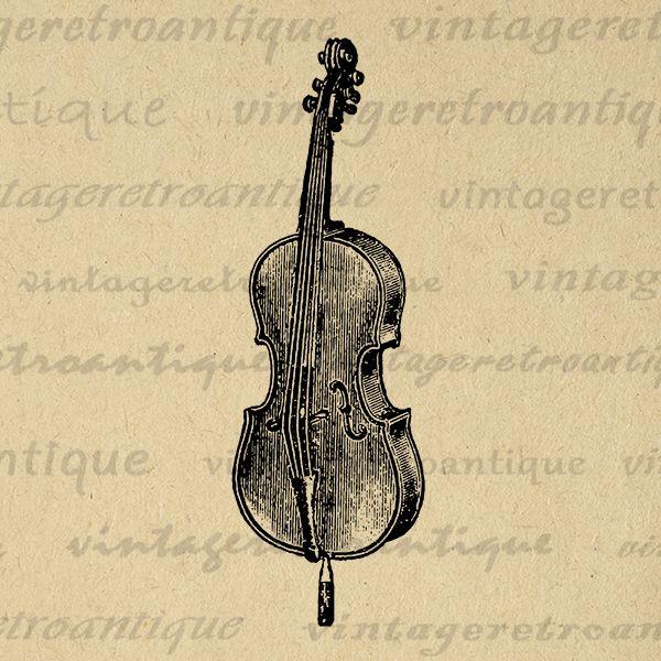 Printable digital image music. Cello clipart violin