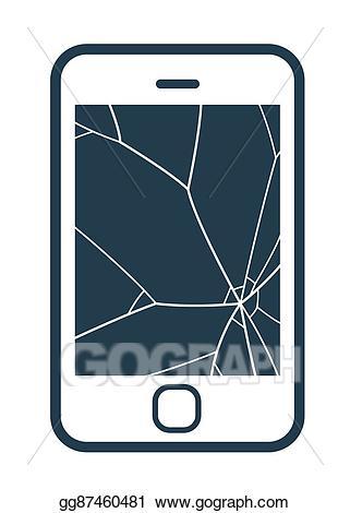 Vector stock mobile phone. Cellphone clipart broken